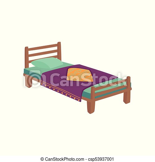 Wooden Bed For Kids With Pillow And Purple Blanket Cartoon Vector
