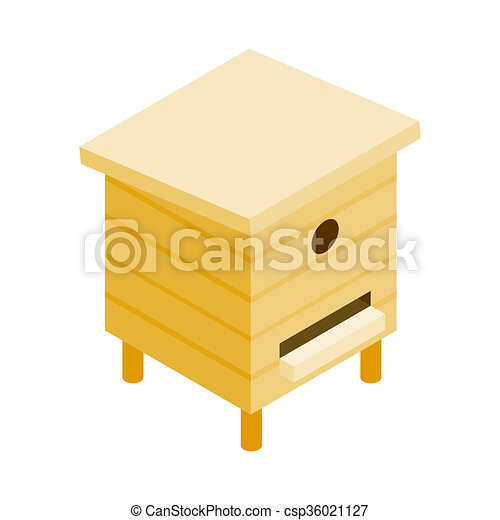Wooden Beehive Isometric 3d Icon Stock Illustration
