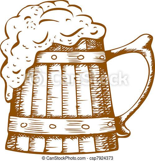 wooden beer mug - csp7924373