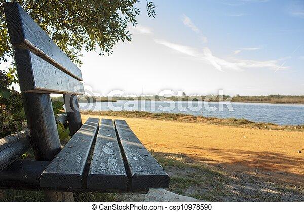 Wooden bench at the lake - csp10978590