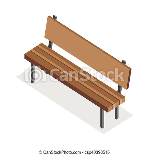 Strange Wooden Bench Illustration In Isometric Projection Machost Co Dining Chair Design Ideas Machostcouk