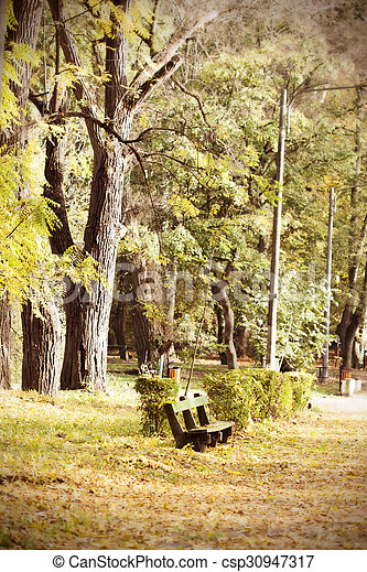 Wooden bench in autumn park - csp30947317