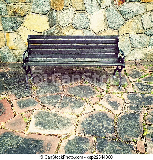 Awe Inspiring Wooden Bench On Colorful Tile Background Uwap Interior Chair Design Uwaporg