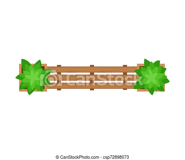 Wooden bench. View from above. Vector illustration on a white background. - csp72898073