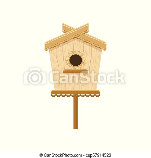 Wooden Birdhouse On Stand Flat Vector Icon Of Nesting Box Small House For Birds Decorative Element For Greeting Card