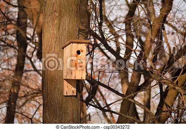 Wooden birdhouse on the tree trunk - csp30343272
