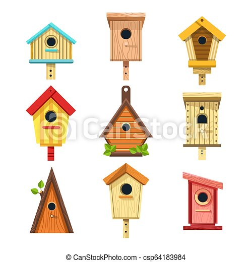 Admirable Wooden Birdhouses Isolated Icons Nesting Boxes To Hang On Tree Download Free Architecture Designs Scobabritishbridgeorg