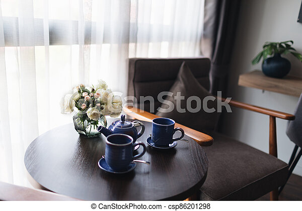 Wooden black and grey modern table and desk in bedroom - csp86201298