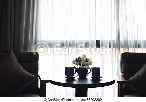 Wooden black and grey modern table and desk in bedroom - csp86202209