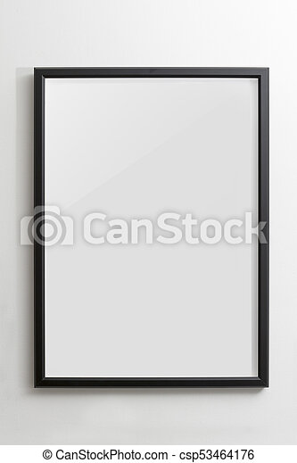 Wooden black empty frame on white wall - csp53464176