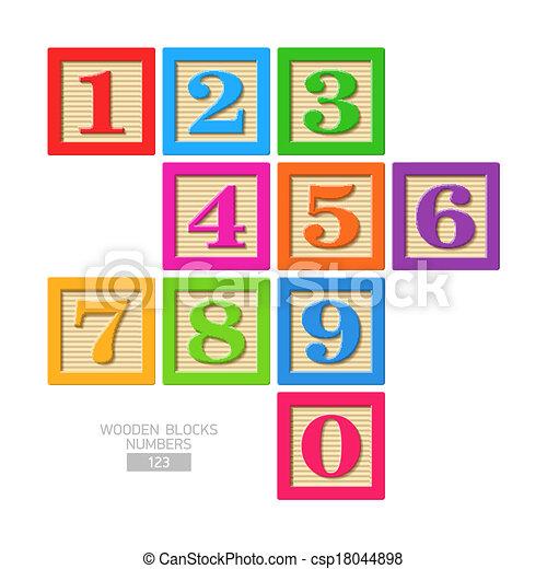 Wooden block numbers - csp18044898