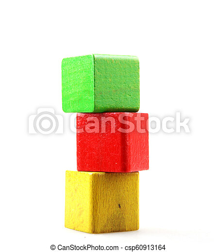 Wooden blocks isolated on white background - csp60913164