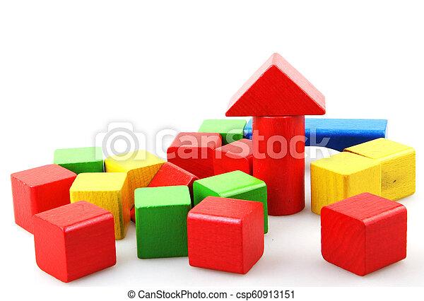 Wooden blocks isolated on white background - csp60913151