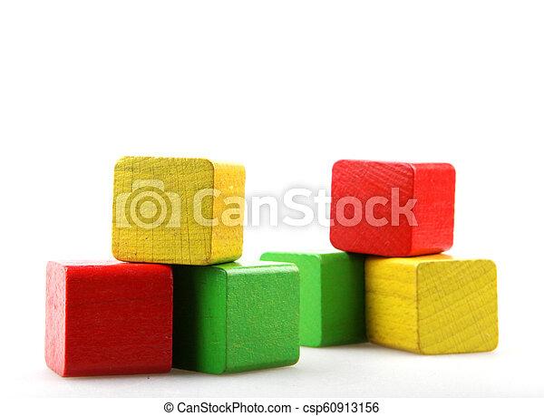 Wooden blocks isolated on white background - csp60913156