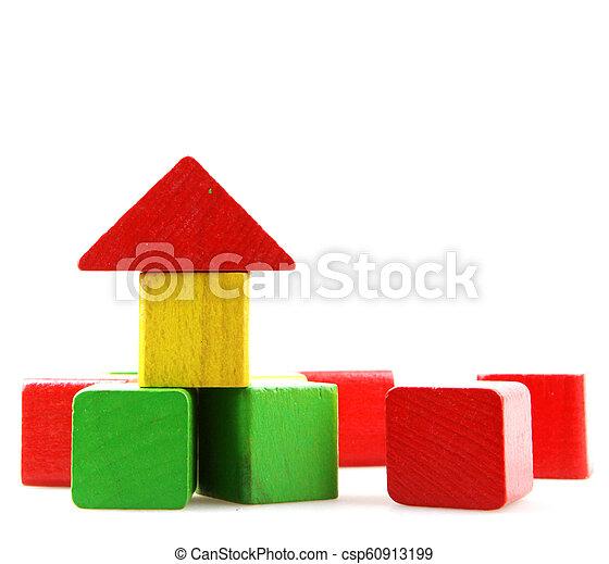 Wooden blocks isolated on white background - csp60913199