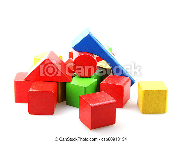 Wooden blocks isolated on white background - csp60913134