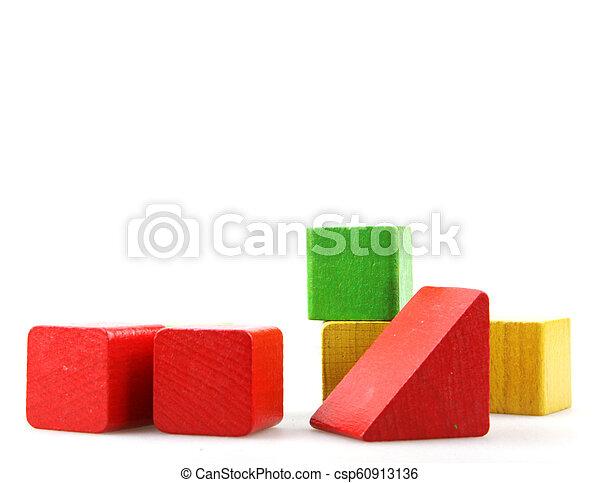 Wooden blocks isolated on white background - csp60913136