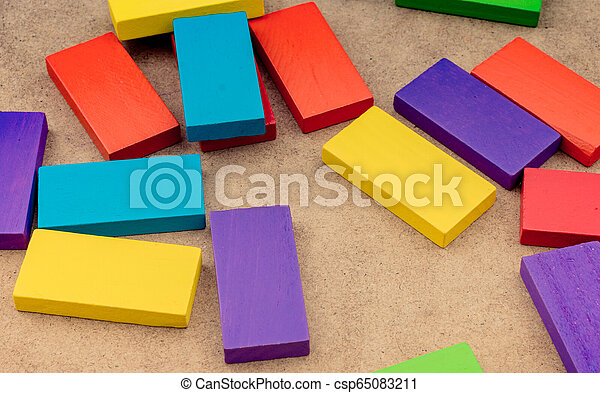 Wooden blocks of various color - csp65083211