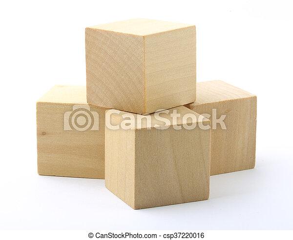 Wooden blocks on white background - csp37220016
