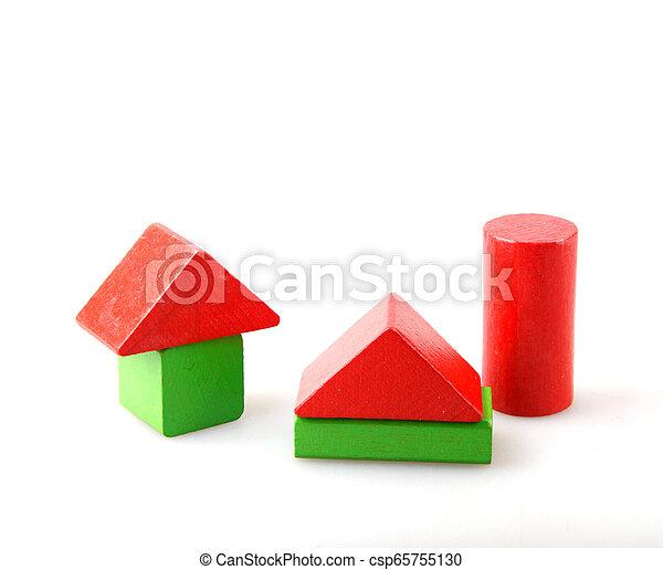 Wooden Blocks On White - csp65755130