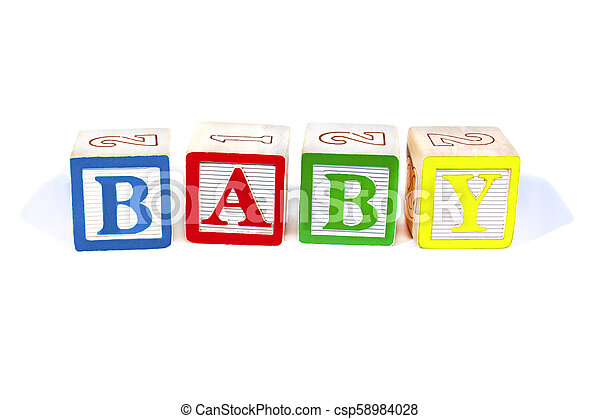 Wooden blocks spell baby - csp58984028