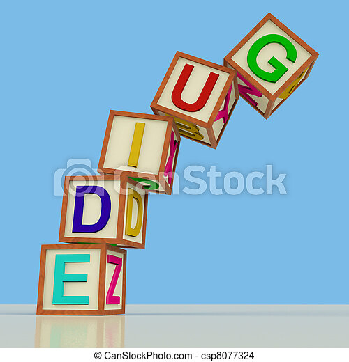 Wooden Blocks Spelling Guide Falling Over As Symbol for Education Or Training - csp8077324