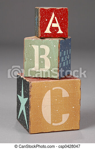 Wooden Blocks with ABC letters - csp0428047