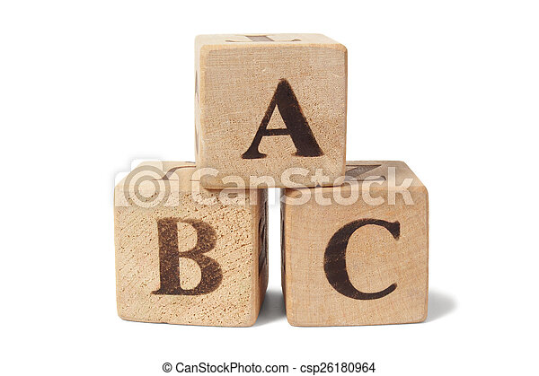 Wooden blocks with ABC letters - csp26180964