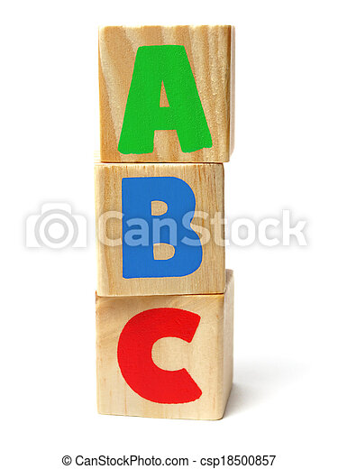 Wooden blocks with ABC letters - csp18500857