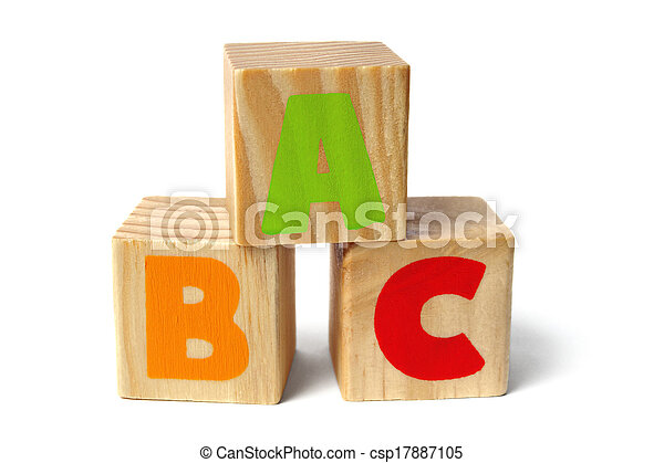 Wooden blocks with ABC letters - csp17887105