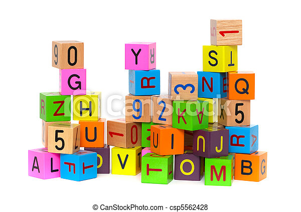 Wooden blocks with letters - csp5562428