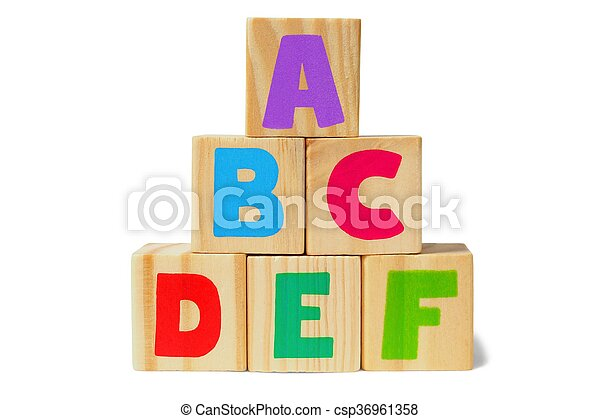 Wooden blocks with letters - csp36961358