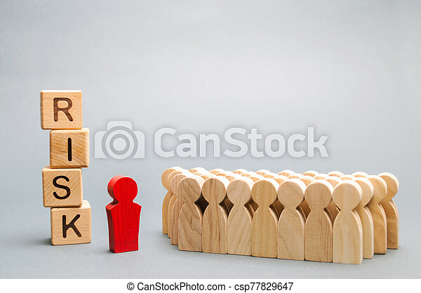 Wooden blocks with the word Risk and a team with a leader. Business concept of teamwork, crisis solution and problem management. Business planning. Investment in the project. Risk assessment. Forecast - csp77829647