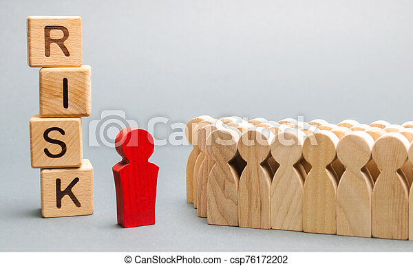 Wooden blocks with the word Risk and a team with a leader. Business concept of teamwork, crisis solution and problem management. Business planning. Risks assessment. Forecast - csp76172202