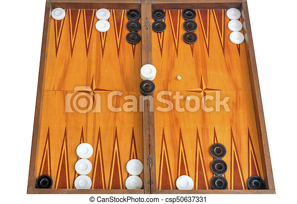 Wooden board for playing backgammon game with pools and dice - csp50637331