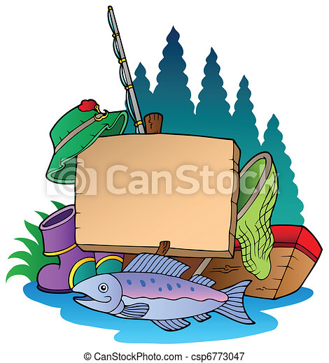 Wooden board with fishing equipment - csp6773047
