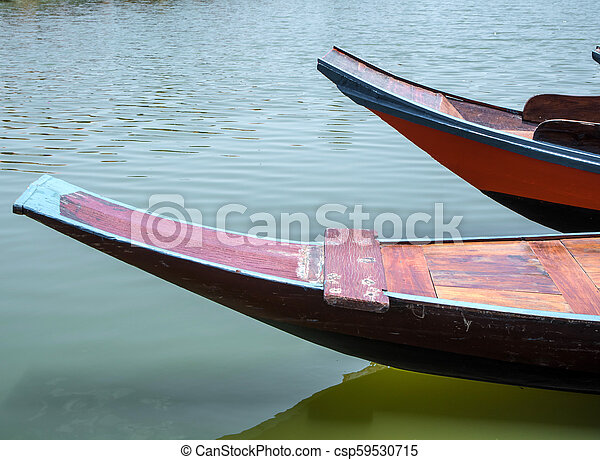 Wooden boat float in lake - csp59530715