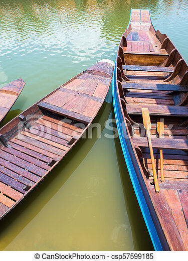 Wooden boat float in lake - csp57599185