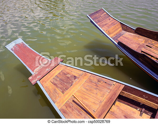 Wooden boat float in lake - csp50028769