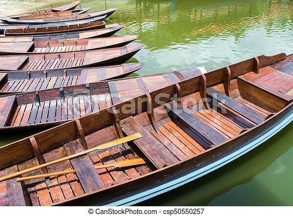 Wooden boat float in lake - csp50550257