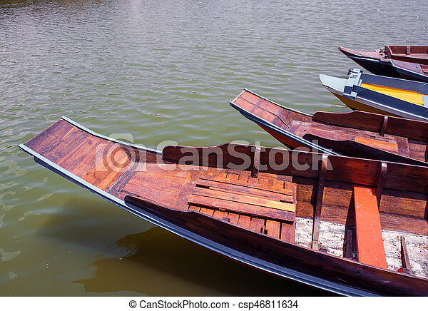 Wooden boat float in lake - csp46811634