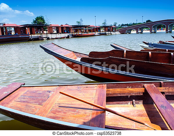 Wooden boat float in lake - csp53523738