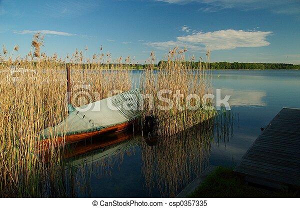 Wooden boat in reeds - csp0357335