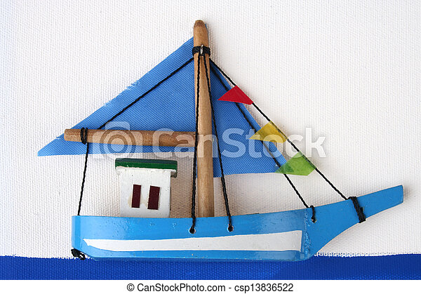 Wooden Boat on a Picture Board - csp13836522