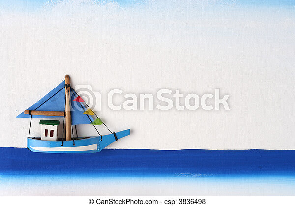 Wooden Boat on a Picture Board - csp13836498