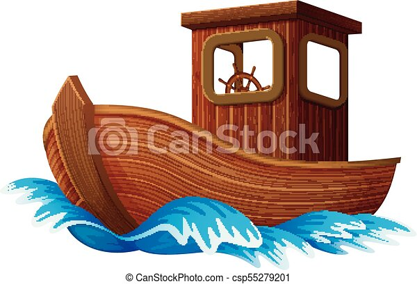 Wooden Boat Sailing In The Ocean