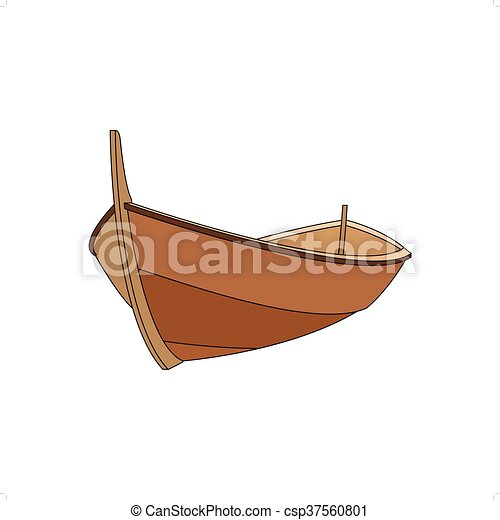 3d Wooden Boat Vector Illustration Isolated On White
