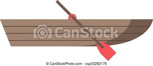 Wooden Boat With Oar