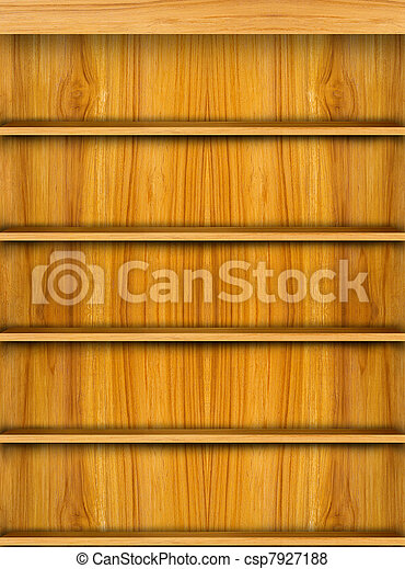 Wooden book shelf background - csp7927188