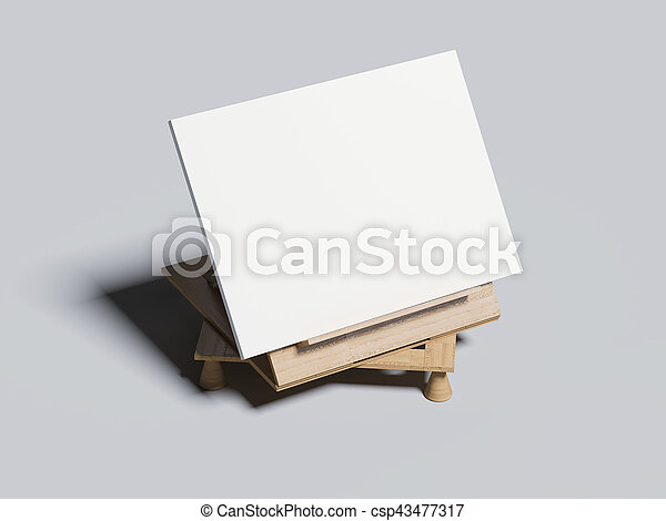 Wooden bookend with frame . 3d rendering - csp43477317